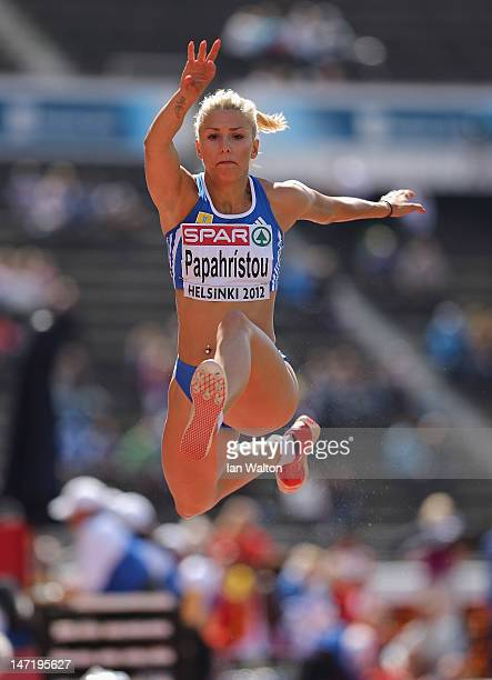 Paraskevi Papahristou of Greece competes in the Women's Triple Jump Qualification during day one of the 21st European Athletics Championships at the...
