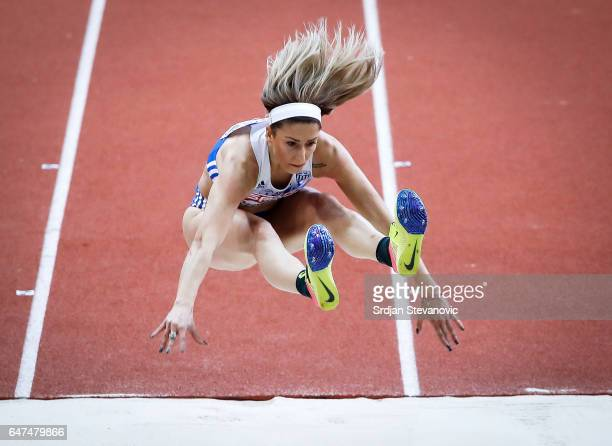 Paraskevi Papahristou of Greece competes in the Women's Triple Jump qualification on day one of the 2017 European Athletics Indoor Championships at...