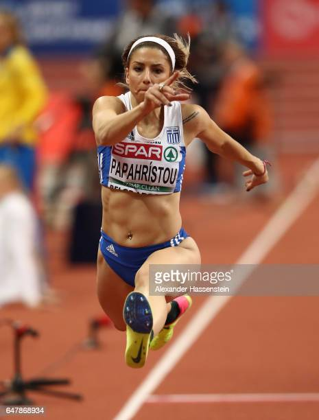 Paraskevi Papahristou of Greece competes in the Women's Triple Jump final on day two of the 2017 European Athletics Indoor Championships at the...