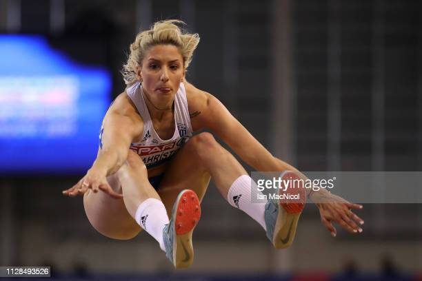 Paraskevi Papahristou of Greece in action during the final of the women's triple jump on day three of the 2019 European Athletics Indoor...