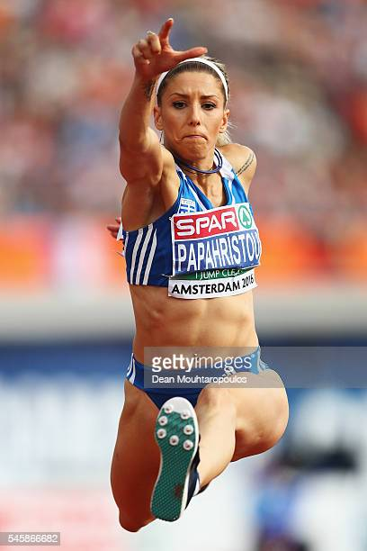 Paraskevi Papahristou of Greece in action during the final of the womens triple jump on day five of The 23rd European Athletics Championships at...