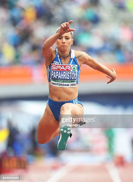 Paraskevi Papahristou of Greece in action during the qualifying round for the womens triple jump on day three of The 23rd European Athletics...