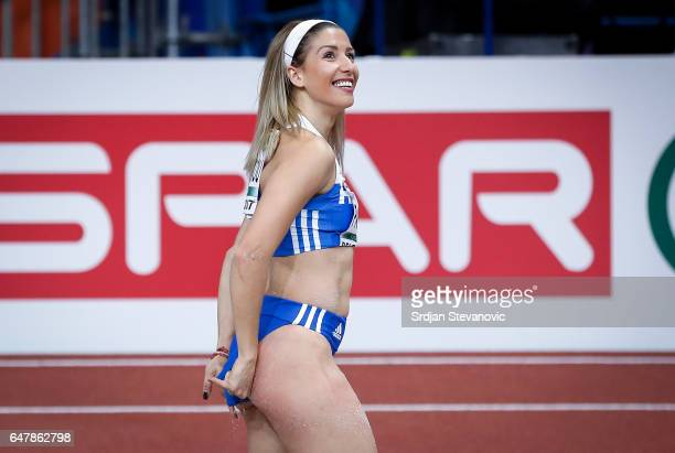 Paraskevi Papahristou of Greece reacts during the Women's Triple Jump final on day two of the 2017 European Athletics Indoor Championships at the...