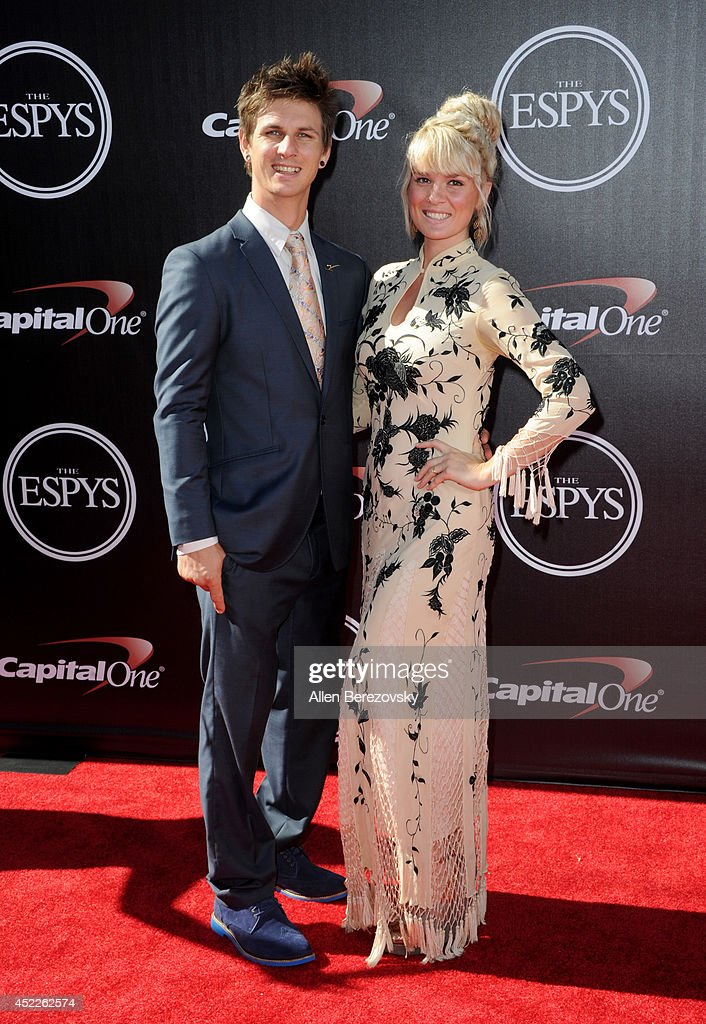 Para-snowboard cross racer Evan Strong (L) attends the 2014 ESPY Awards at Nokia Theatre L.A. Live on July 16, 2014 in Los Angeles, California.