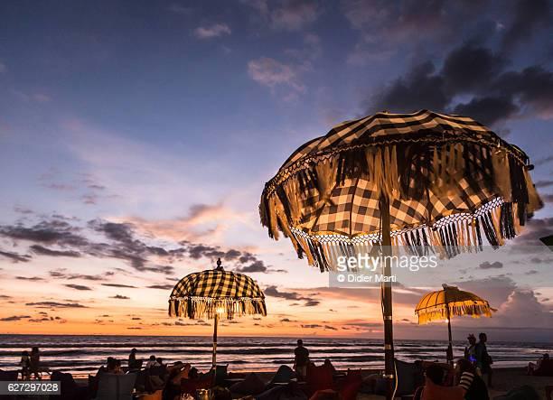 Parasol of a beach bar in upscale Seminyak, Bali, Indonesia