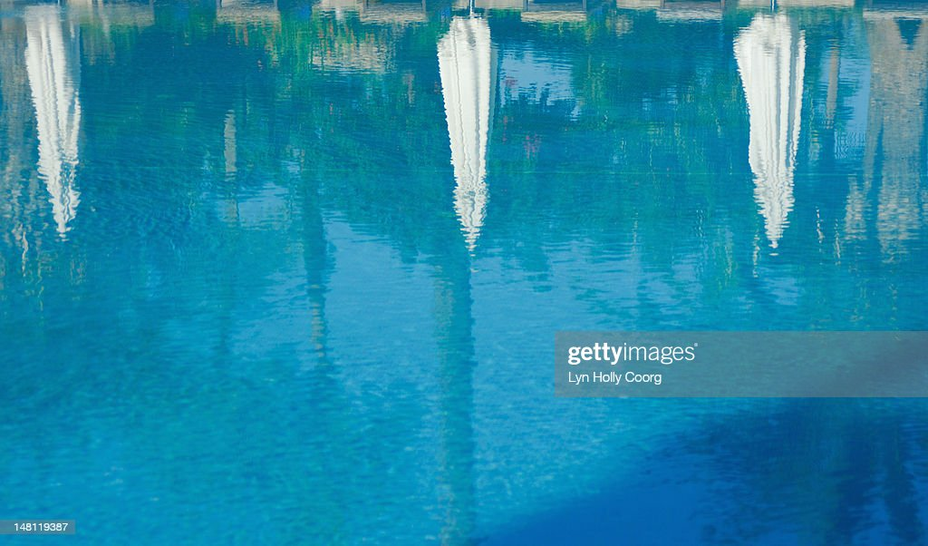 Parasols and trees reflected in a swimming pool : Stock Photo