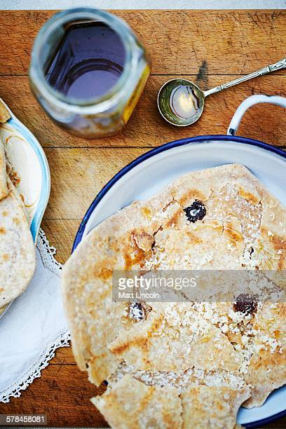 Paratha, indian bread, overhead view