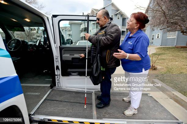 Paratransit driver Dar Owsianny helps Jesse Soto, of Longmont, into a VIA Mobility Services vehicle, Thursday, March. 6, 2014. Soto uses the service...