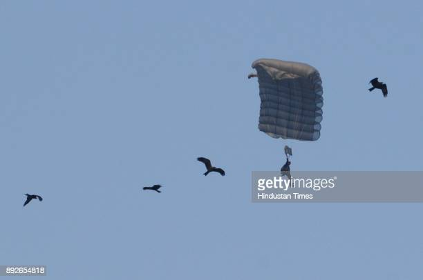 Paratrooper display their skill during to mark the 46th anniversary of Vijay Diwas at RCTC ground on December 14 2017 in Kolkata India Vijay Diwas is...