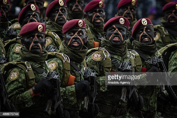 Paratroopers during the Military Parade of the 205 of Independence of Mexico in the Zocalo Square at Mexico City Mexico on September 16 2015