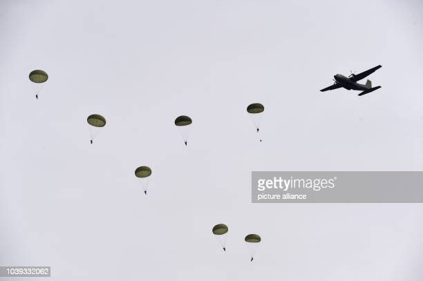 Paratroopers jump out of a Transall transport plane over Ahrenvioelfeld Germany 10 May 2017 Around 3500 German and Dutch troops from rapid force...