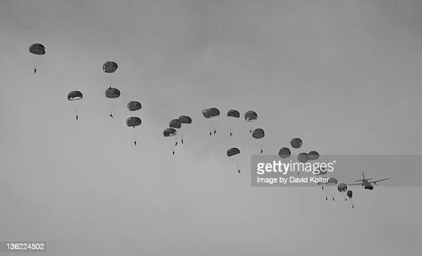 paratroopers jumping from airplane - paratrooper stock pictures, royalty-free photos & images
