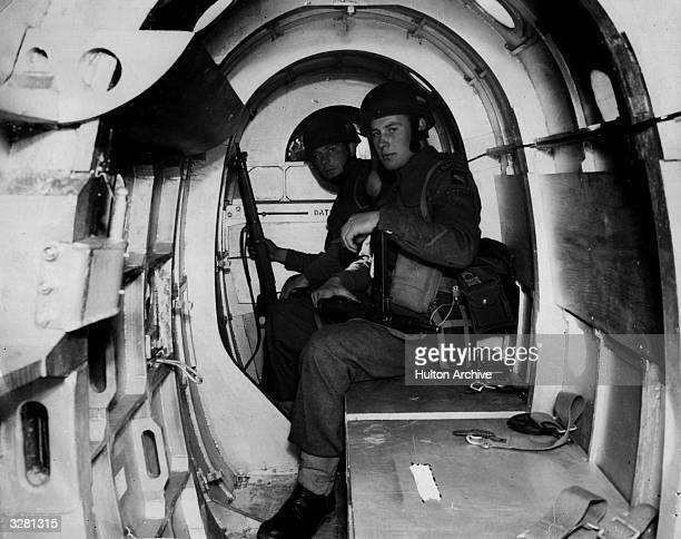 Paratroopers of the 2nd Battalion Oxfordshire and Buckinghamshire Light Infantry on board a General Aircraft Hotspur MkII pilot training glider at an...