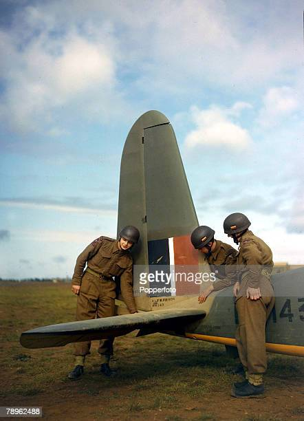 Paratroopers of the 2nd Battalion Oxfordshire and Buckinghamshire Light Infantry with a General Aircraft Hotspur MkII pilot training glider at an RAF...