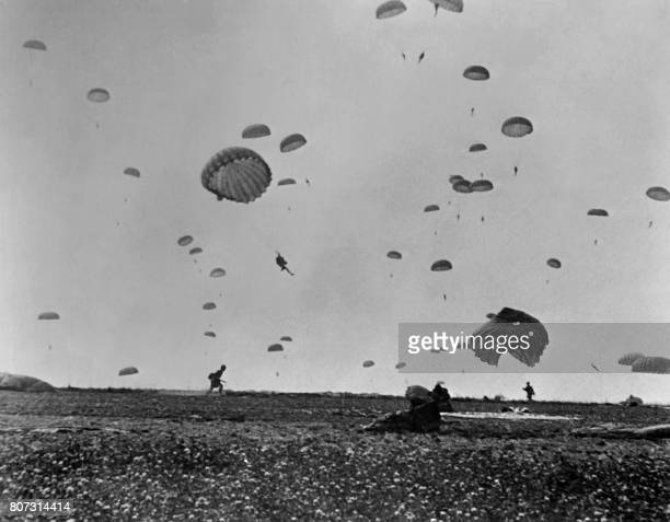 Paratroopers of the Allied land on La Manche coast on June 6 1944 after Allied forces stormed the Normandy beaches during DDay