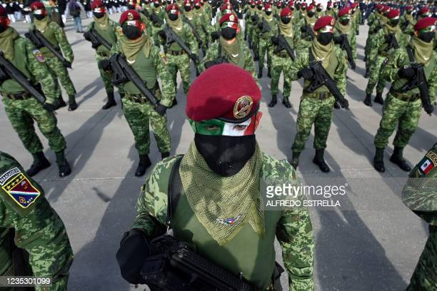 Paratroopers of the Mexican Army are seen before the military parade for the 211th anniversary of the Independence Day at the Zocalo Square in Mexico...