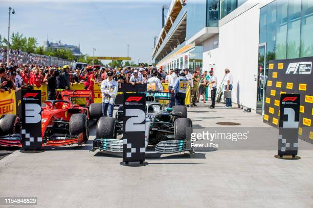 Parc Ferme after Sebastian Vettel of Ferrari and Germany has moved the position boards during the F1 Grand Prix of Canada at Circuit Gilles...