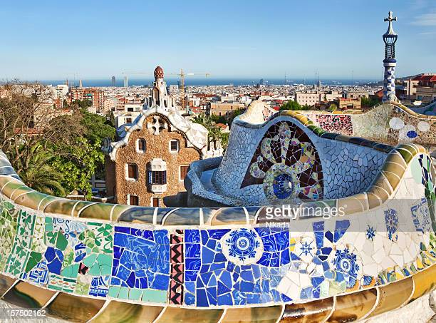 parc guell, barcelona - antonio gaudi stock pictures, royalty-free photos & images