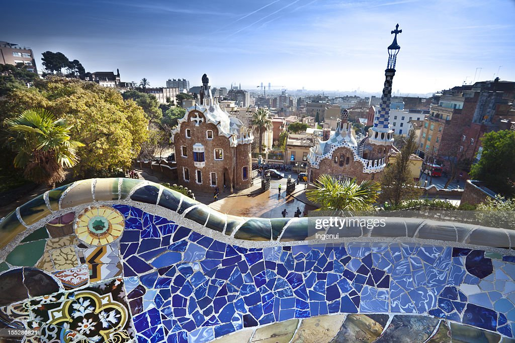 Parc Guell By Gaudi In Barcelona Spain