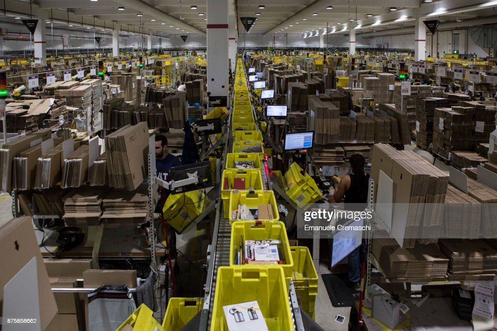 Parcels are processed, almost ready for dispatch, in the outbound area of the Amazon.com fulfillment centre in Amazon.com MPX5 fulfillment center on November 17, 2017 in Castel San Giovanni, Italy. Established in 2014, the 100.000 sq. metres warehouse employs a workforce of 1.600 people who processed 1.2 million items during the last Black Friday.