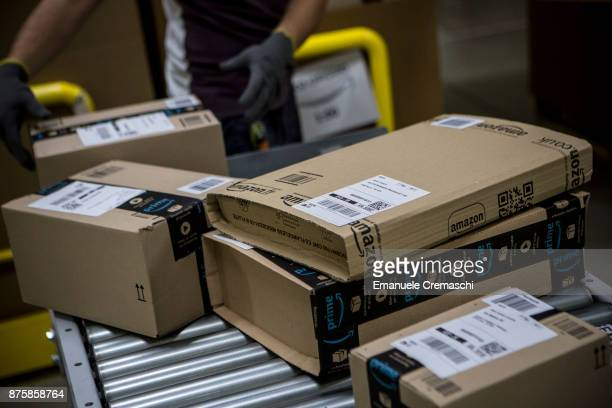 Parcels are processed and prepared for dispatch at the Amazoncom fulfillment centre in Amazoncom MPX5 fulfillment center on November 17 2017 in...