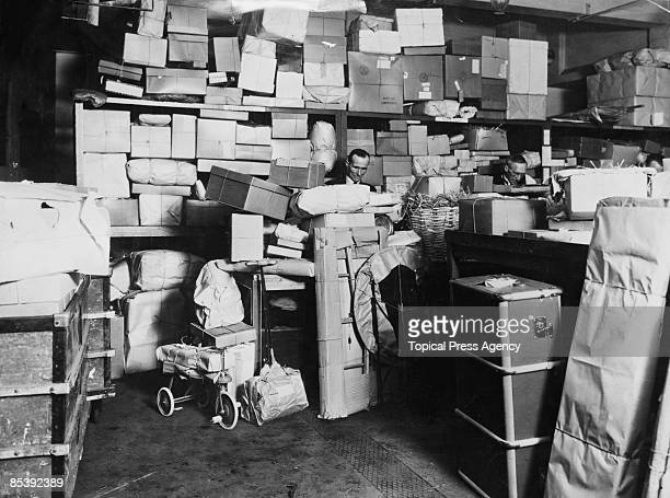 Parcels in a dispatch room at Selfridges department store on Oxford Street London 7th December 1939
