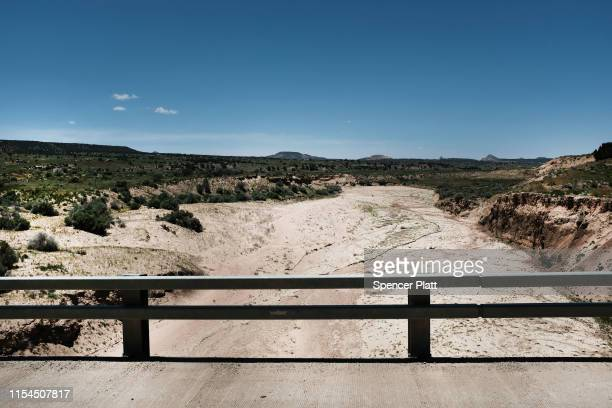 Parched land stands on Navajo Nation lands on June 07 2019 near the town of Thoreau New Mexico Due to a legacy of poverty marginalization and...