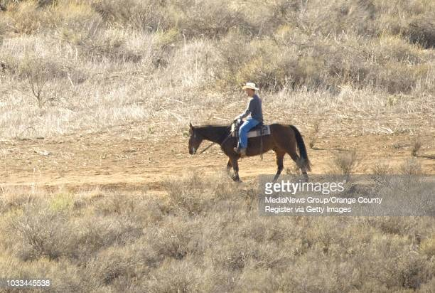 Parched landscape envelopes a horesback rider at Peters Canyon Regional Park in Orange on Monday Volunteers were stationed throughout Orange County...