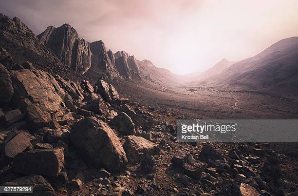 parched, rcky desert landscape in southern morocco - extreme terrain stock pictures, royalty-free photos & images