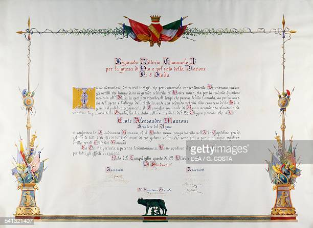 Parchment donated to Alessandro Manzoni Senator of the Kingdom of Italy on the occasion of being granted of honorary Roman citizenship 1872 Italy...