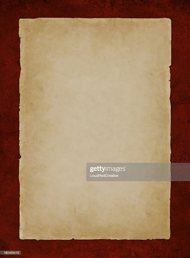 parchment on red : Stock Photo