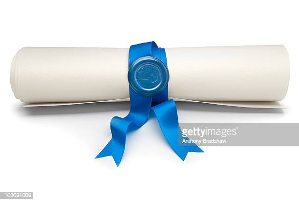 Parchment scroll with a blue ribbon and seal
