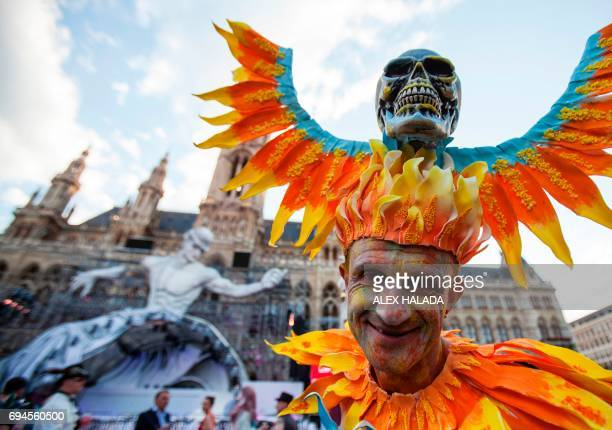 Parcipants arrive during the opening of the 24th Lifeball in front of City Hall in Vienna Austria on June 10 2017 The Life Ball is the largest...