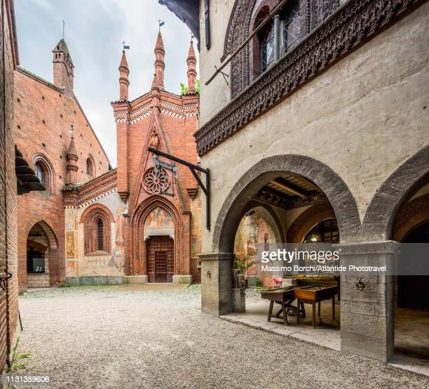 parco del valentino, borgo medievale - turin stock pictures, royalty-free photos & images