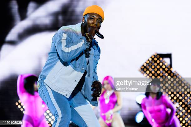 Pardi performs on stage with Cardi B during day one of Rolling Loud at Hard Rock Stadium on May 10 2019 in Miami Gardens Florida