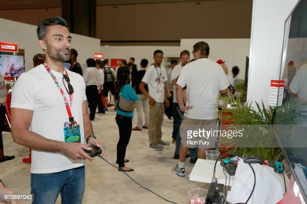 Pardis Parker visits the Nintendo booth during the 2018 E3 Gaming Convention at Los Angeles Convention Center on June 12 2018 in Los Angeles...