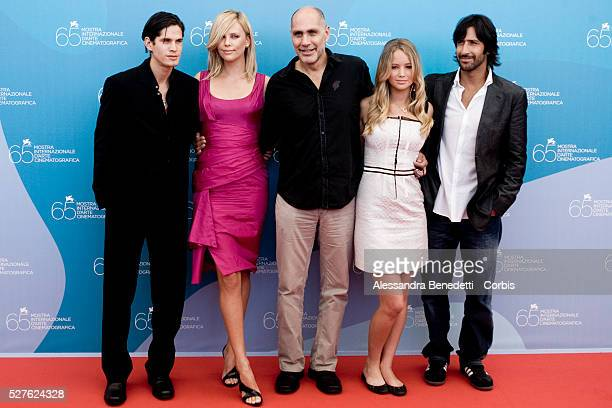 JD Pardo actress Charlize Theron director Guillermo Airriaga actress Jennifer Lawrence and actor Jose Maria Yazpik attend the photo call of The...