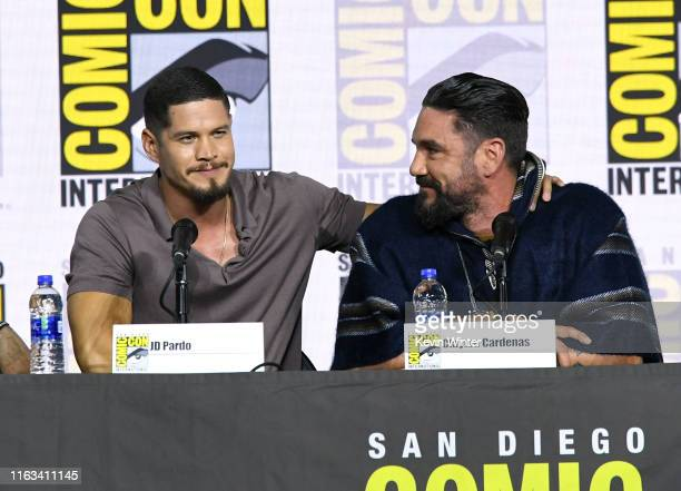 Pardo and Clayton Cardenas speak at the Mayans MC Discussion and QA during 2019 ComicCon International at San Diego Convention Center on July 21 2019...