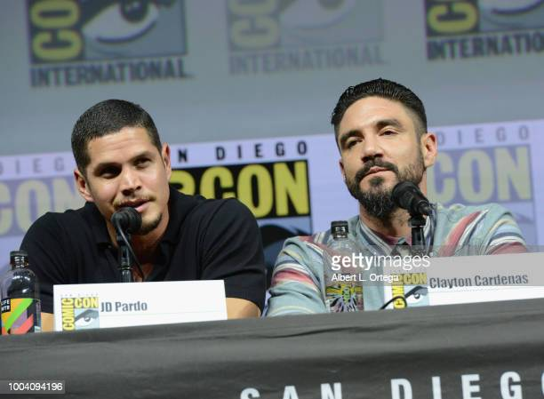D Pardo and Clayton Cardenas speak onstage at the Mayans MC discussion and QA during ComicCon International 2018 at San Diego Convention Center on...