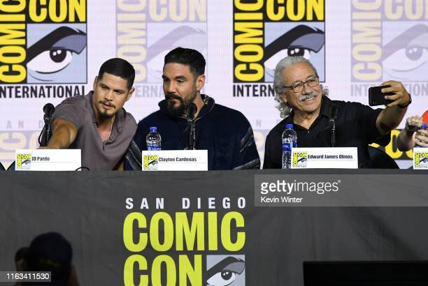 Pardo Clayton Cardenas and Edward James Olmos speak at the Mayans MC Discussion and QA during 2019 ComicCon International at San Diego Convention...