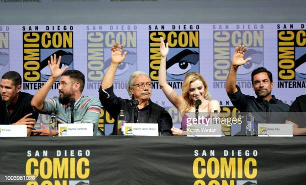 JD Pardo Clayton Cardenas Edward James Olmos Sarah Bolger and Danny Pino speak onstage at the 'Mayans MC' discussion and QA during ComicCon...