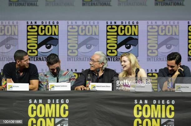 JD Pardo Clayton Cardenas Edward James Olmos Sarah Bolger and Danny Pino speak onstage at the Mayans MC discussion and QA during ComicCon...