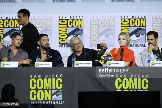 Pardo Clayton Cardenas Edward James Olmos Sarah Bolger and Danny Pino speak at the Mayans MC Discussion and QA during 2019 ComicCon International at...