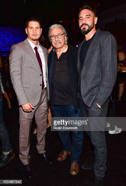 JD Pardo Edward James Olmos and Clayton Cardenas at the premiere of FX's Mayans MC after party on August 28 2018 in Hollywood California