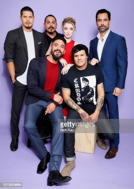 J D Pardo Emilio Rivera Sarah Bolger and Danny Pino Clayton Cardenas and Elgin James of FX's 'Mayans MC' pose for a portrait during the 2018 Summer...