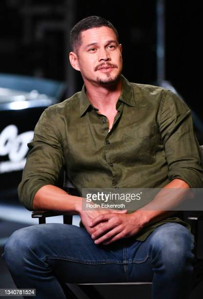 Pardo speaks during an interview at the F9 Fest event on the Universal Studios backlot celebrating F9: The Fast Saga on September 15, 2021 in...