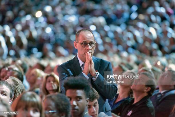 Parent Fred Guttenberg watches a monitor honoring the 17 students and teachers who were killed at Marjory Stoneman Douglas High School during a CNN...