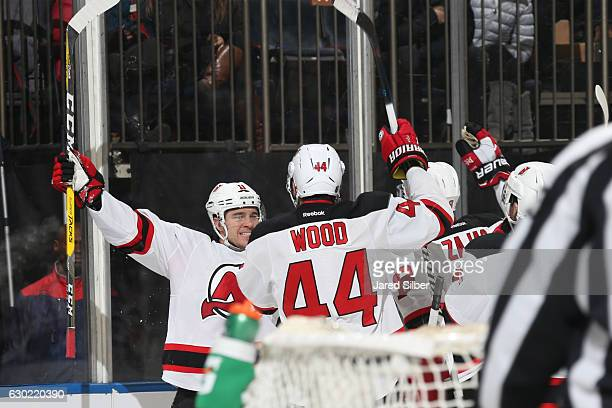 Parenteau and Miles Wood of the New Jersey Devils celebrate after scoring a goal in the second period against the New York Rangers at Madison Square...