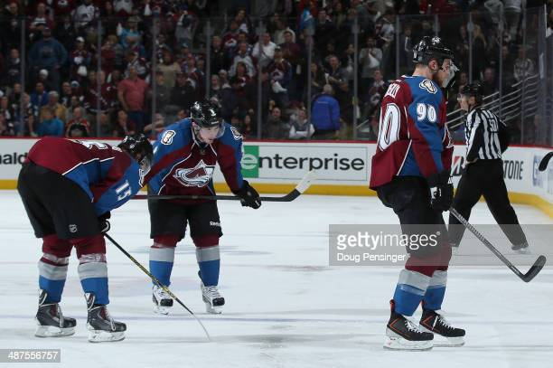 A Parenteau Matt Duchene and Ryan O'Reilly of the Colorado Avalanche skate off the ice after loosing to the Minnesota Wild in overtime of Game Seven...