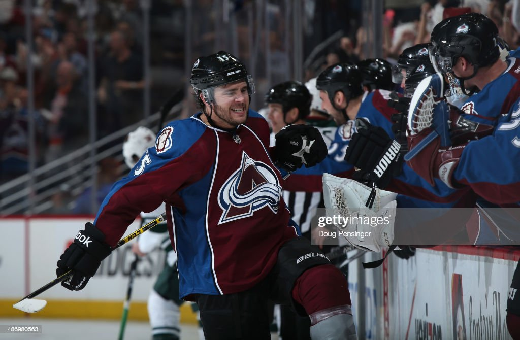 P.A. Parenteau #15 of the Colorado Avalanche celebrates his goal at 18:46 of the third period to tie the score 3-3 with the Minnesota Wild in Game Five of the First Round of the 2014 NHL Stanley Cup Playoffs at Pepsi Center on April 26, 2014 in Denver, Colorado.